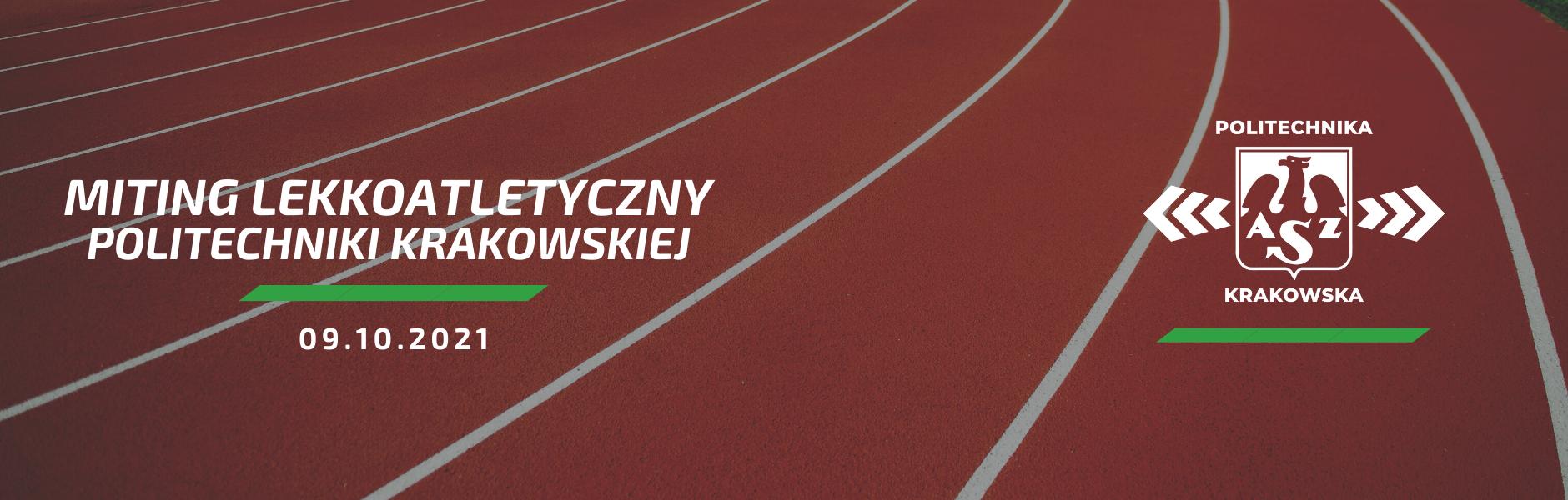 Baner Miting Lekkoatletyczny Politechniki Krakowskiej - 9.10.2021